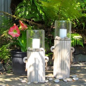 White washed candle holders