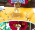 Gold Victorian Fleur de Lis Table Number Holder